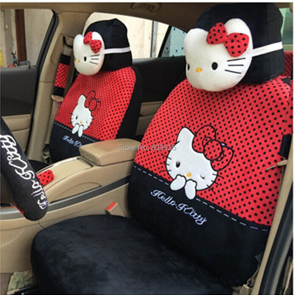 Wholesale Beautiful Car Seat Covers RED Hello Kitty 18pcs Universal Steering Wheel Holder In Automobiles From