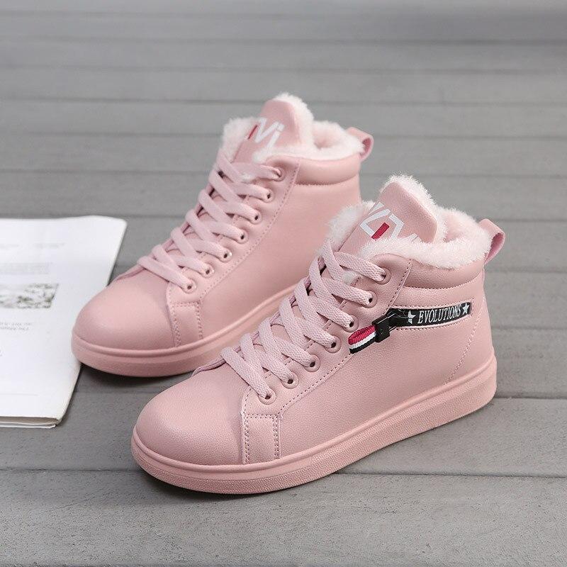 Mujer Tobillo Botas Up Cálido Negro Pisos Mujeres Las De rosado Zapatillas blanco Y755 Cortas Lace Nieve Invierno Zapatos 2019 XvIFrXY