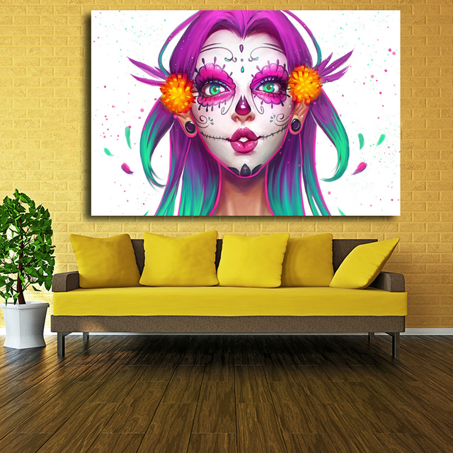Decor Wall Art Abstract Beauty Canvas Print Watercolor Girl Face Pop ...