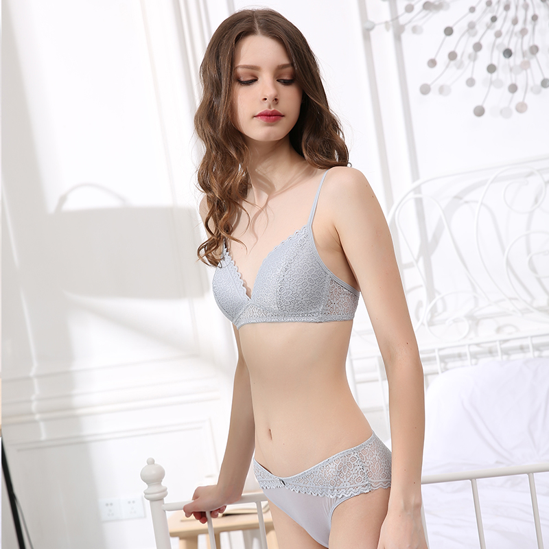 CINOON Brand Sexy Lace Lingerie Simple Comfortable Thin Cotton Cup Underwear Bra Set Section Gathered Bralette Triangle cup bras