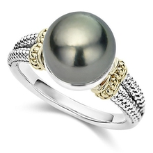Hot Ring With Gray Imitation Pearl And Cubic Zircon Women Je