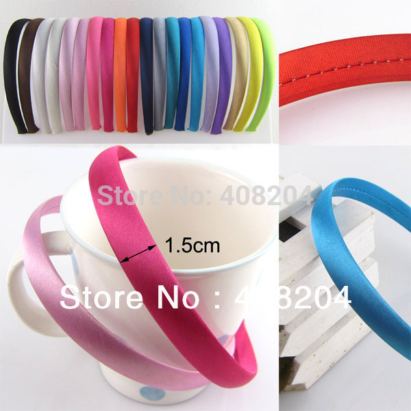 120pcs lot 15mm 5 8 Skinny Satin Covered Headband for Children and adult Pick Your Color