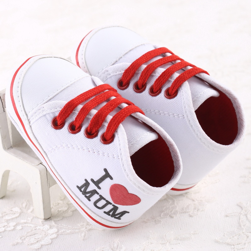 I LOVE MUM DAD Spring Canvas Baby Girls Boys Firstwalker Shoes Newborn Bling Bling Stars Infants Sports Sneakers