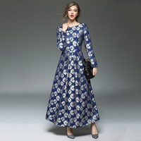 Bán Hot New Fashion Women Robes In Ren Dài Dresses của người phụ nữ Màu Xanh Hoa Vestido Thanh Lịch O-Cổ Cộng Với Kích Thước Maxi Đầm N609