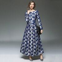 Heißer Verkauf Neue Mode Damen Bademäntel Gedruckt Spitze Lange Kleider frau Blaue Blumen Vestido Elegante Oansatz Plus Größe Maxi Kleid N609