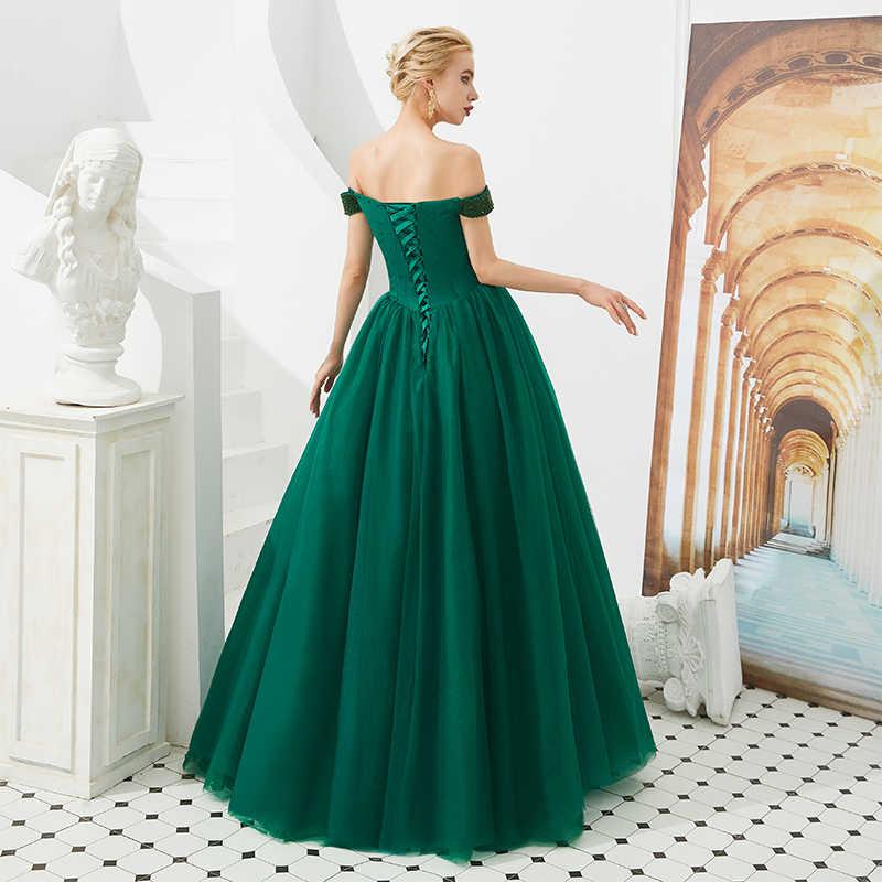 2019 Lindo Beading Vestidos Longos de Baile Fora Do Ombro Roxo Verde Escuro Vestido de Festa Robe De Bal Sweet Sixteen Vestidos de Debutante