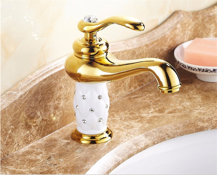 gold and white finished brass bathroom single lever hot and cold sink faucet,basin tap mixer with glass decoration crystal white basin vessel sink faucet single lever countertop bathroom mixer taps with hot and cold water