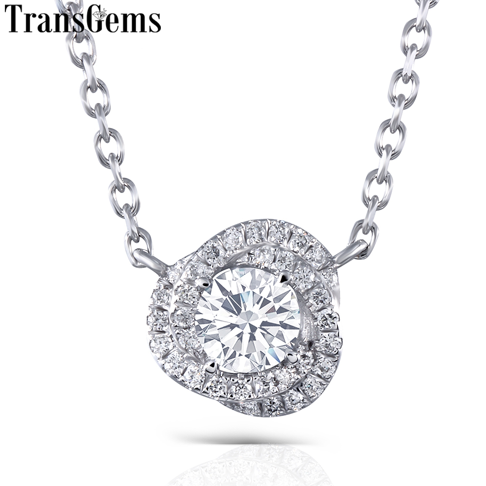 Transgems 14K White Gold 0 5ct Center 5mm F Nearly Colorless Moissanite Pendant Necklace with Accents for Women Double Halo in Pendants from Jewelry Accessories