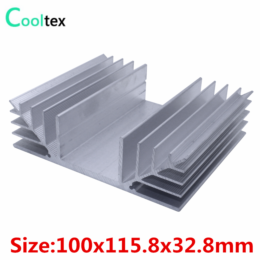 High quality 100x115.8x32.8mm radiator Aluminum heatsink Extruded heat sink for power amplifier Electronic heat dissipation