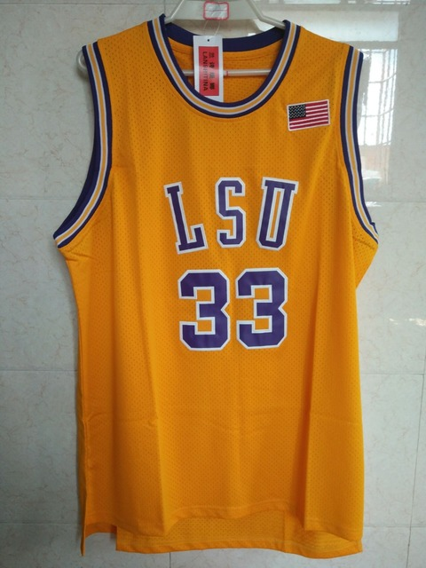 aa26ca43350 ... LANSHITINA shaquille oneal jersey 33 LSU Tigers College Basketball  Jerseys Shaquille Oneal Yellow ...