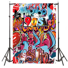 Neoback Vinyl 80 90s Hip-Hop Party Themed Birthday Photographic Background Graffiti Wall Photography Backdrops
