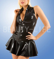 Latex dress w/ neckband , top and mini skirt, show your sexy, free shipping