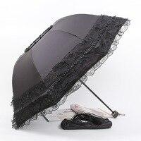 ใหม่สร้างสรรค์พับร่มกันแดดร่มลูกไม้ร่มกันแดดร่มฝนผู้หญิงโค้งยูวีG Uarda C Huvaร้อนขา