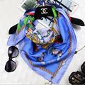 2017 Mujeres de Invierno de Sarga de Seda 100% Bufanda Cuadrada Chal 90x90 cm Impreso Bufanda Multifuncional Aplicable A Cualquier temporada SZ