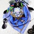 2017 Mulheres de Inverno Lenços de Seda 100% Sarja de seda Lenço Quadrado Xale 90x90 cm Impresso Cachecol Multifunções Aplicável A Qualquer temporada SZ