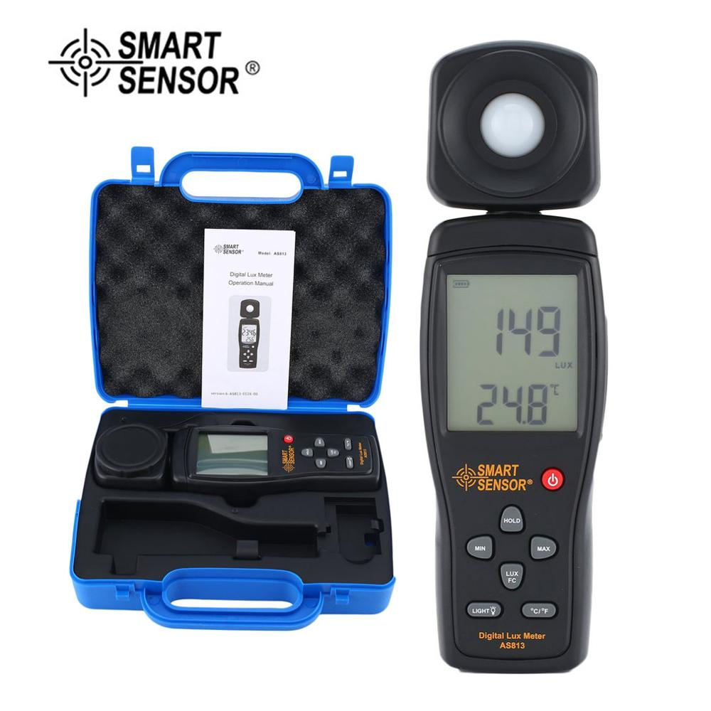 SMART SENSOR AS813 Digital Luxmeter Light Meter Lux/FC Meter Luminometer Photometer 100,000 Lux Spectrometer Spectrophotometer