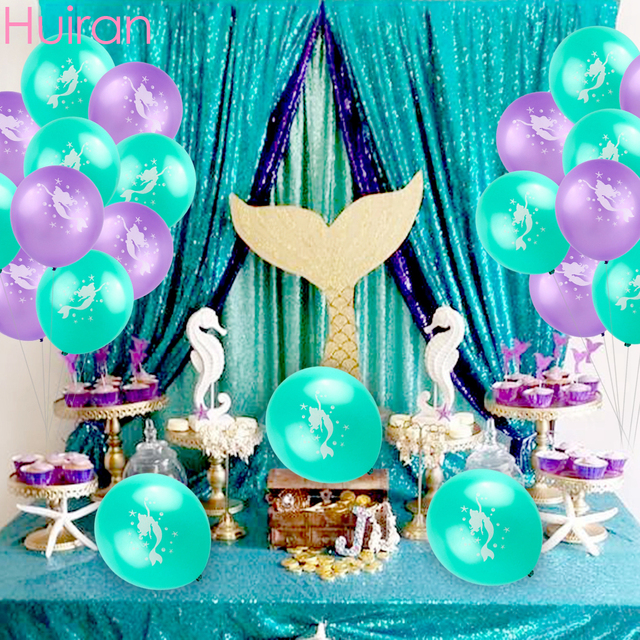 Huiran 10pc Birthday Party Decorations Mermaid Tail Balloons Latex Child Theme Ballons Baby