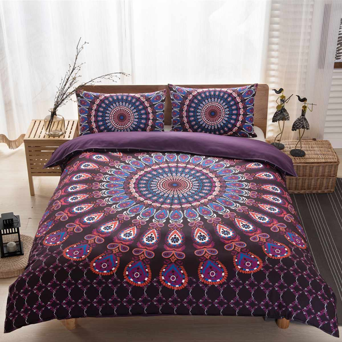 Black and purple bed sheets - Bedding Set Cover Boho Style Indian Bedding Indian Duvet Cover 200x230cm And Two Pillowcases 48x74cm Purple Black