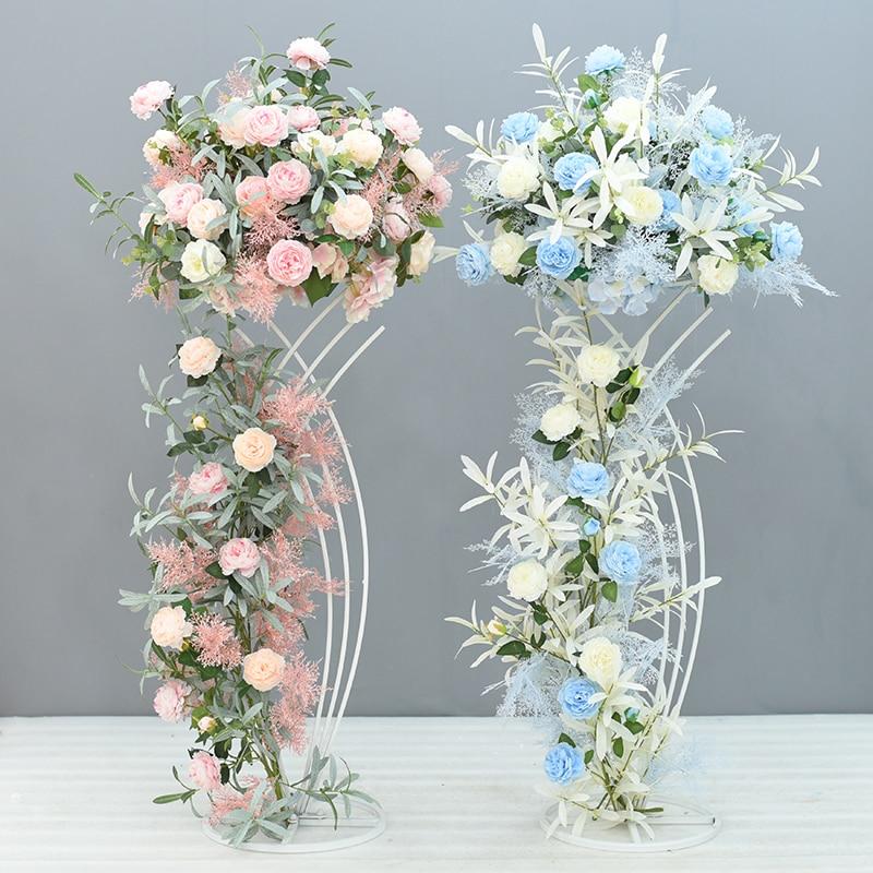 4Pcs Lot Flower Vases Floor Metal Vase Plant Dried Floral Holder Flower Pot Road Lead for