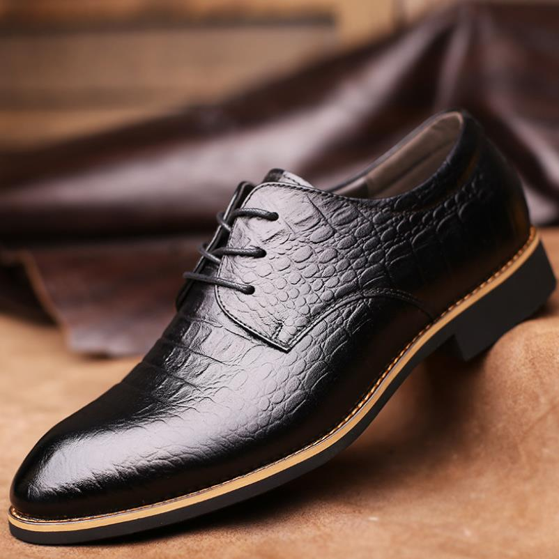 Luxury crocodile pattern mens dress shoes leather formal shoes men oxford classic shoes for men pointed toe social male shoe