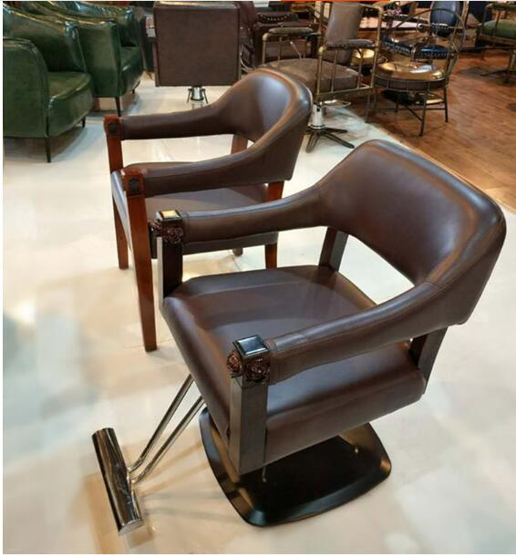 Personalized Hair Clippers Chair Retro Solid Wood Hair Chair Hair Salon Chair High-end Hair Clipper .