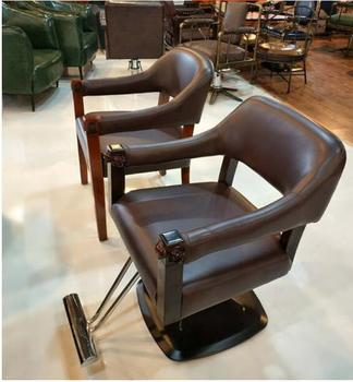 Personalized hair clippers chair retro solid wood hair chair hair salon chair high-end hair clipper . 0077hair salon personalized hair chair adjustable chair stainless steel handrail 5222