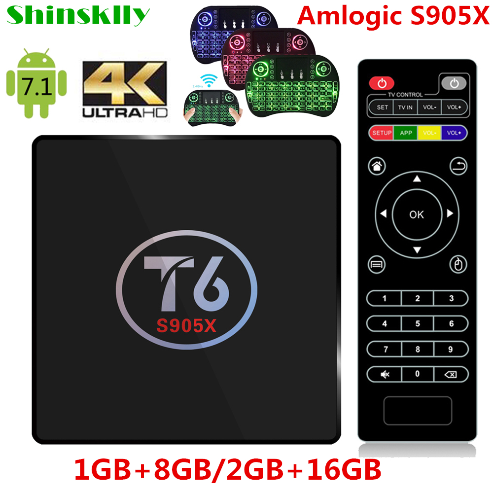 Shinsklly T6 S905X Quad core smart TV Caja Androide 7.1 Amlogic TV BOX 2.4 GHz W