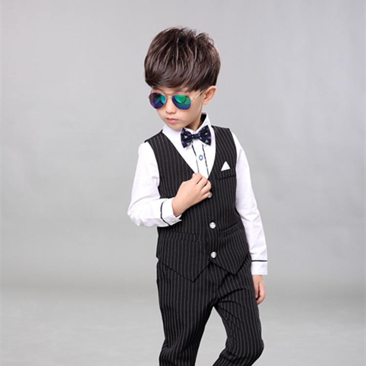 Children Spring Baby Boy Blazer Clothes Set Shirt Striped Vest Pants Suits For Wedding Kids Tuxedo Suit Boys Vest Formal Clothes boys wedding clothes kids tuxedo suit for baby boy blazer plaid vest shirt pants toddler formal party set children clothing b038