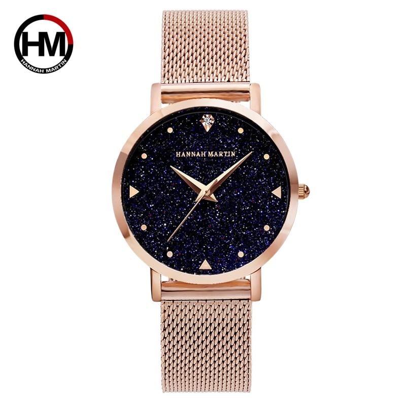 Japón movimiento noche flash cielo estrellado dial Acero inoxidable creativo impermeable mujeres relojes diamante elegante señoras reloj de cuarzo
