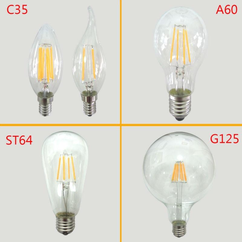 Energy Saving Lamp Light E27 COB 220v 2W 4W 6W 8W Glass Led Filament Bulb Home Lighting Ampoule Led E14 Candle Bombilla Led