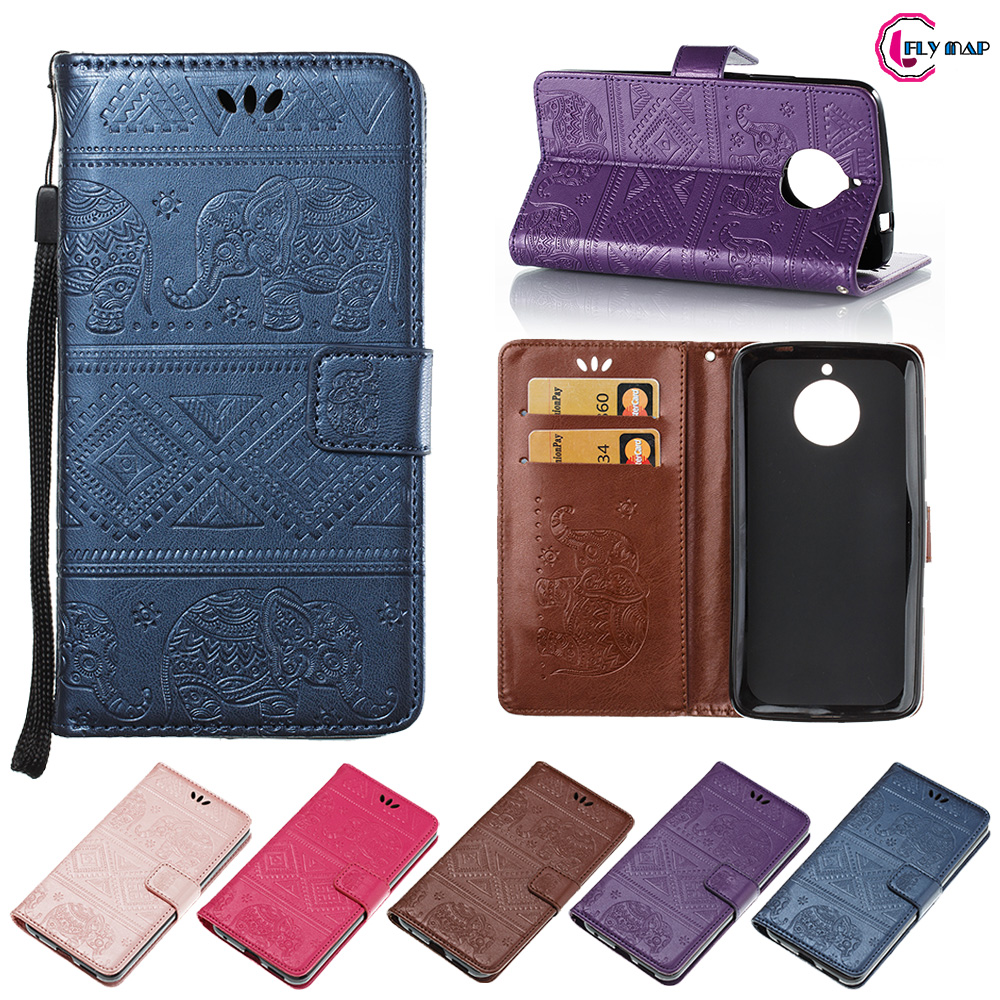 Elephant Coque For Motorola MOTO E 4th XT1767 Gen case Retro Flip Wallet PU leather Cover For MOTO E 4 XT1768 Phone Shell Bag