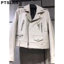 Ptslan 2017 Women S Genuine Leather Jacket Motorcycle Classic Sheepskin Lambskin Jackets Female Basic Good Quality