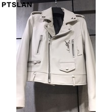 Ptslan 2017 Women'S Genuine Leather Jacket Motorcycle Classic Sheepskin Lambskin Jackets Female Basic Good Quality P2583