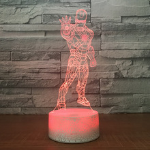 The Iron Man Shape 3D LED Night Light 7 Colors Change Desk Table Lamp Bedroom Lighting Fixture Home Decor Christmas Gifts стоимость