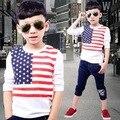 Продвижение 3 - 8 лет детская одежда весной 2016 новых мальчиков футболка свободного покроя с длинным рукавом дети рубашки A432