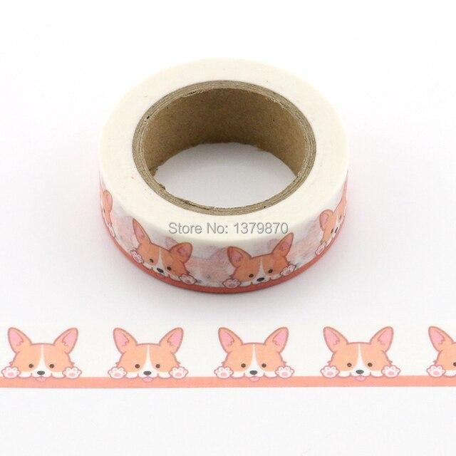 10 m decorativo lindo Corgi perro impresión Washi cinta Diy Scrapbooking álbum de fotos escuela Scrapbooking herramientas Kawaii pegatinas de papel máscara