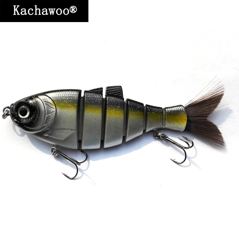 Shad Jointed Swimbait with Hair Tail 6 Multi Segment Fishing Lures Trout for Bass Fishing Bait with Treble Hooks 5 Inch 38g