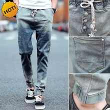 Fashion Casual Teenagers Jeans Men Retro Slim Fit Spliced Drawstring Cuffed Design Hip Hop Stretch Bottoms Mens Ninth Pants M-XL