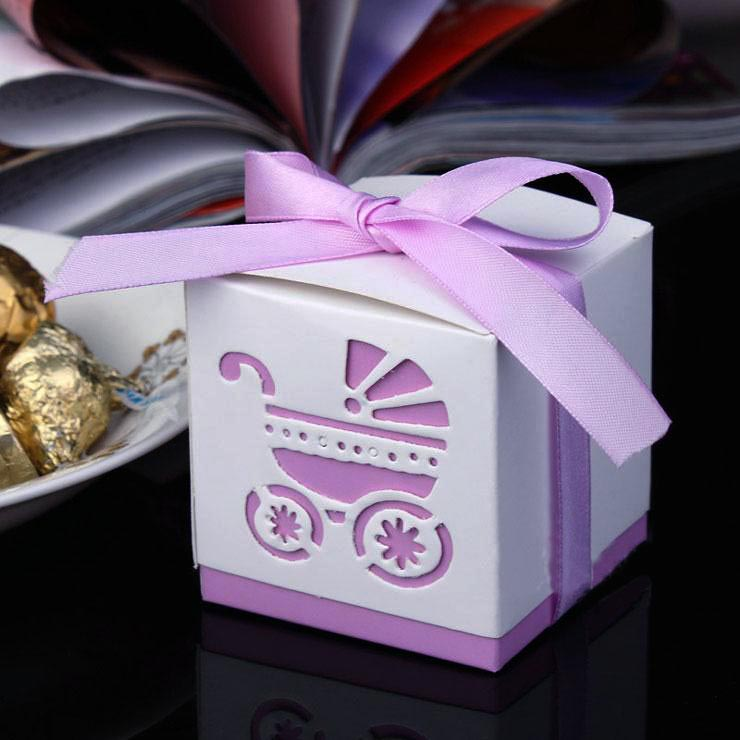 50pcs Laser Cut Carriage Gift Candy Boxes Wedding Favors and Gifts Baby Shower Party Decoration-3