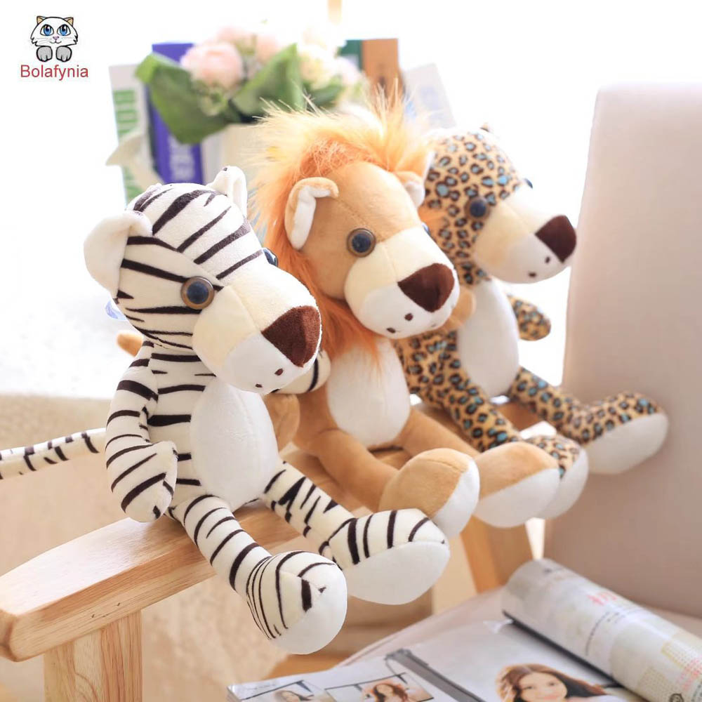 BOLAFYNIA Children Plush Stuffed Toy Forest figurine lion leopard tiger for Valentine's Day Christmas Birthday Gift