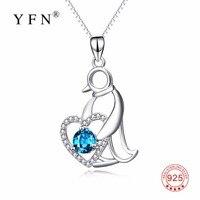 100% Réel Pur 925 Sterling Silver Penguin Pendentifs Colliers Bleu Cristal CZ Amour Coeur Bijoux Bel Animal Cadeau de Foulard