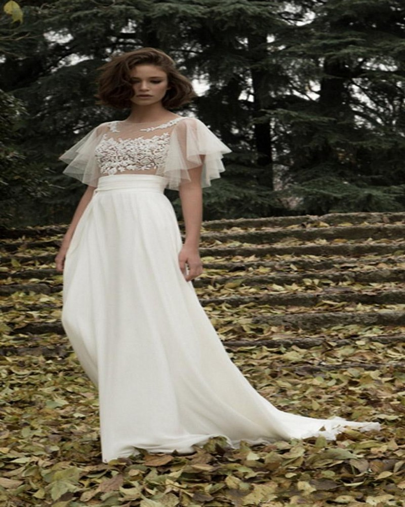 Ruching Wedding Gowns: Batwing Ruched 2015 Wedding Dress Embroidered Lace