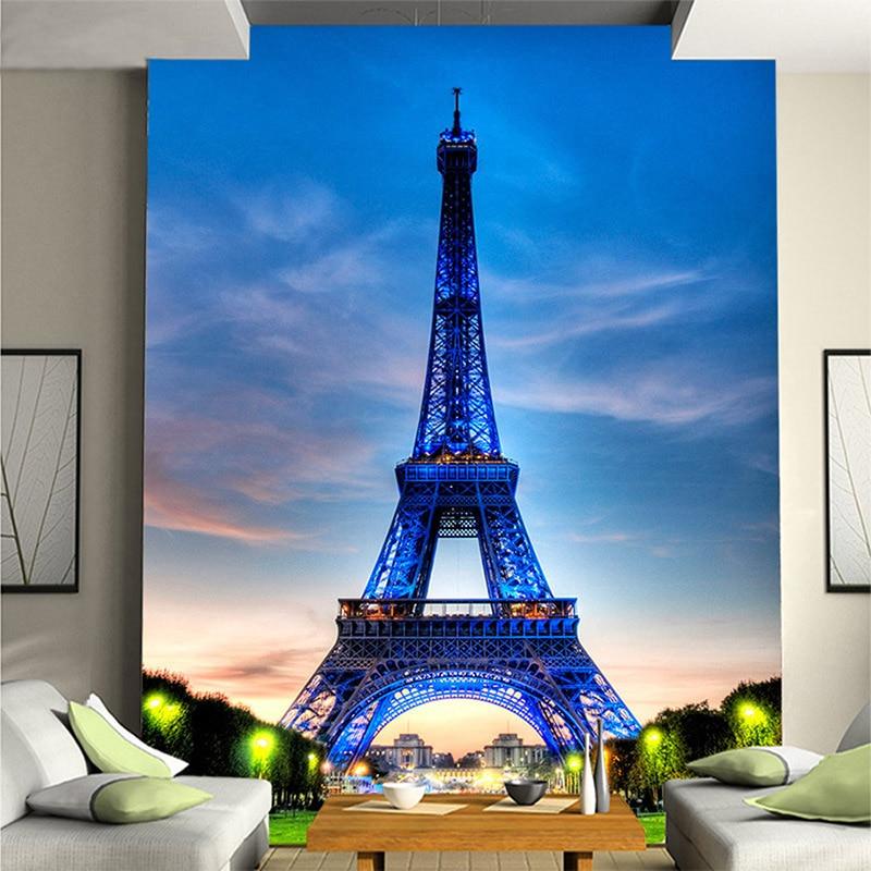 Hottest Blue Sky Eiffel Tower Building 3D Stereo Mural Wallpaper Restaurant Clubs KTV Bar Fashion Interior Entrance Decor Mural