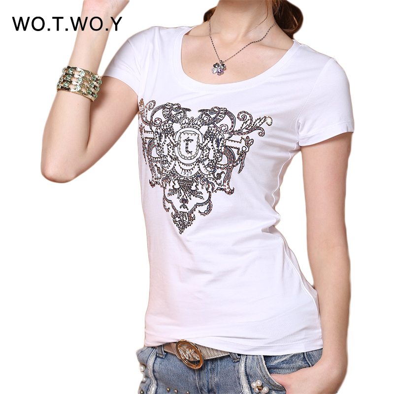 hot sale fashion printed t shirt women 2016 diamonds xxl