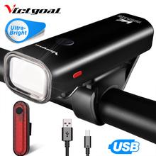 VICTGOAL światło rowerowe USB akumulator przednia LED wodoodporna latarka rowerowa do światła rowerowe reflektor tylne światło zestawy tanie tanio VA003 Kierownica Baterii 140 g 360 Lumen USB Rechargeable 3 Hours IPX3 4 Lighting Mode 200 m Bright Bike Light Taillight