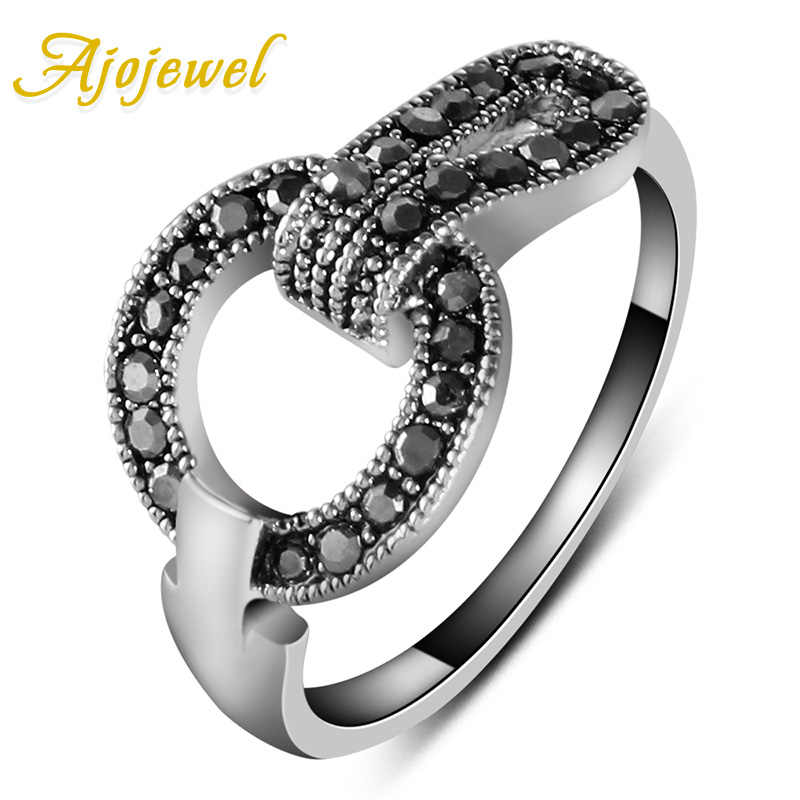 Ajojewel Vintage Jewelry Black And Color Rhinestones Ring Retro Accessories For Women