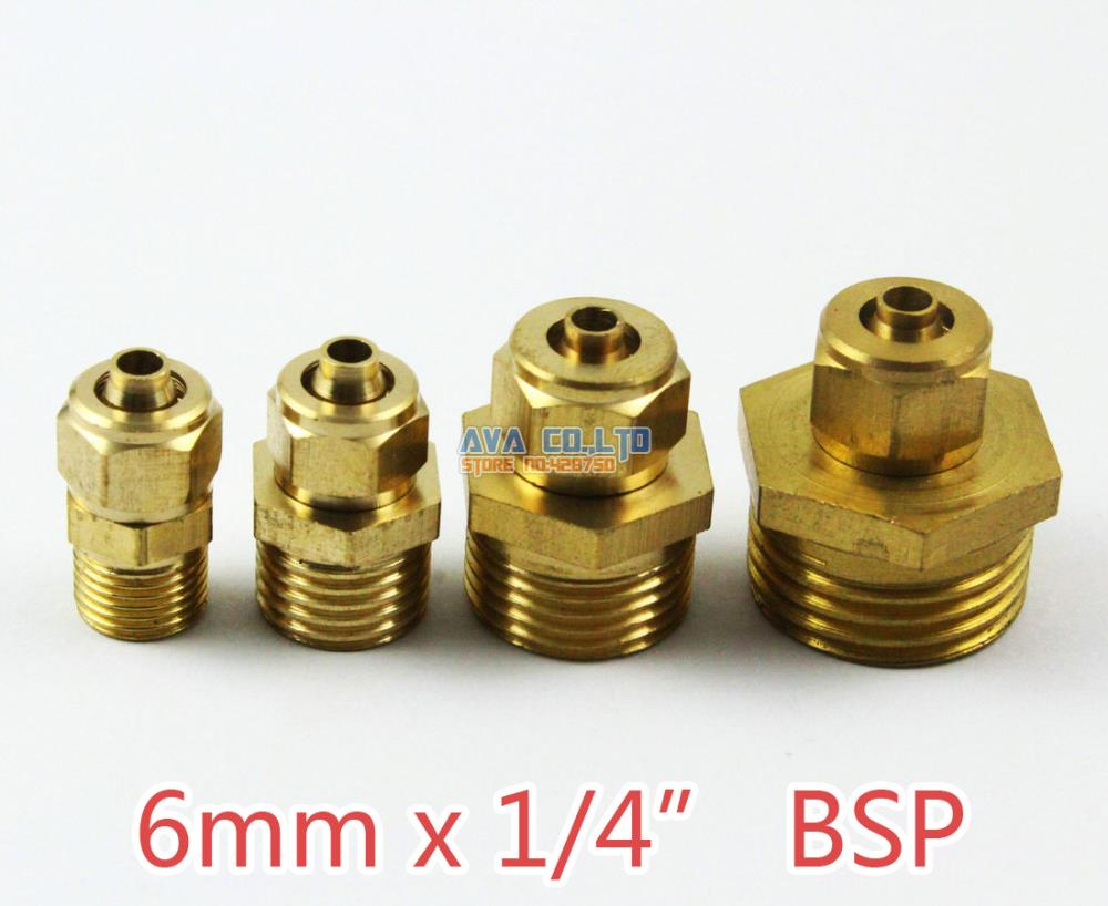 10 Pieces 6mm x 1/4 BSP Brass Straight Male Pneumatic Pipe Hose Quick Coupler Connector Coupling Fitting 10 pieces 6mm x 1 8 bsp brass straight female pneumatic pipe hose quick coupler connector coupling fitting