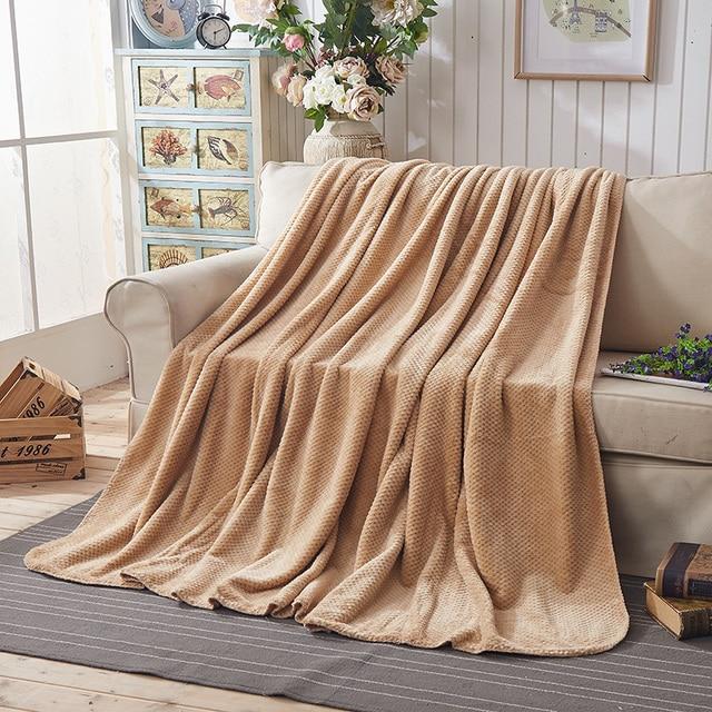Full Queen Size Fleece Coral Fleece Sofa Towel Blanket Solid Autumn Winter  Blanket Sheets Adult Single