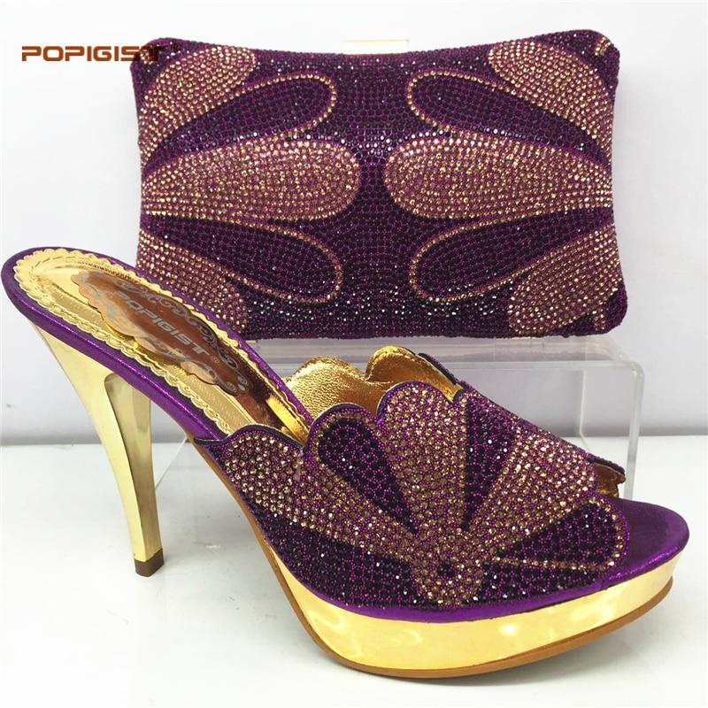 321e04dbb71db1 Vente Black Chaussures Italiennes Sac Ensemble Meilleur purple gold  Africains Haute Assorti green Italie Dames Et ...
