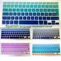 """Euro españa/español de gradiente de arco iris de silicona teclado cubierta protectora de la piel para mac macbook air pro/retina 13 """"15"""" 17"""""""